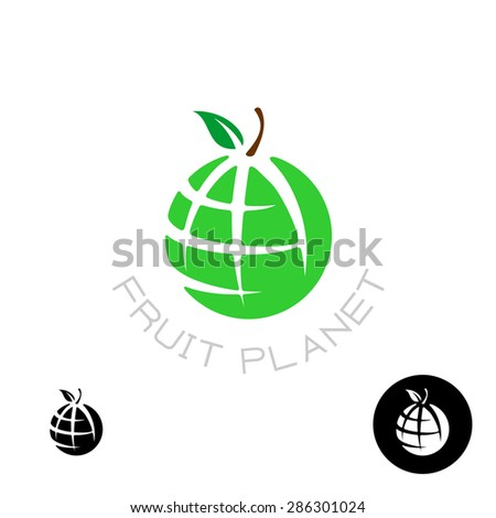 Earth apple globe fruit planet logo