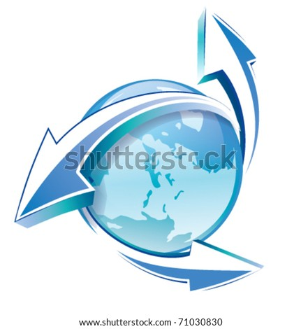 earth arrows blue glossy icon  isolated on white background. - stock vector