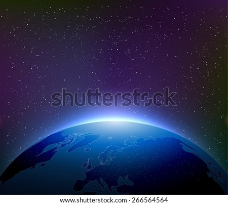 Earth at Night Among Starry Sky - stock vector