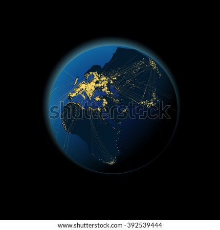 Earth at night with the black continent and light city. - stock vector