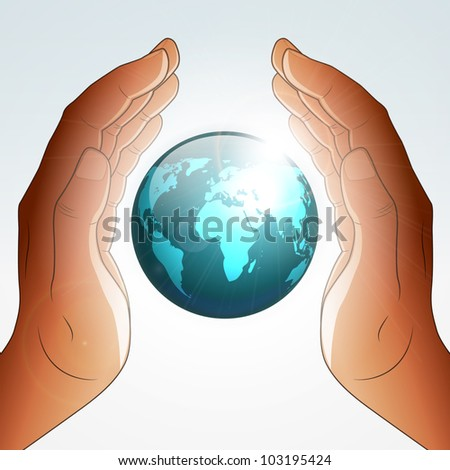 Earth blessing by hands - stock vector
