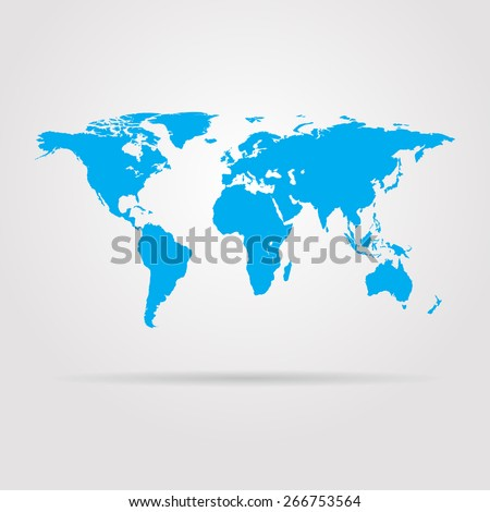 Earth blue map with shadow vector illustration - stock vector