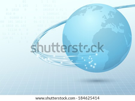 Earth broadband cable connection background. Vector illustration - stock vector