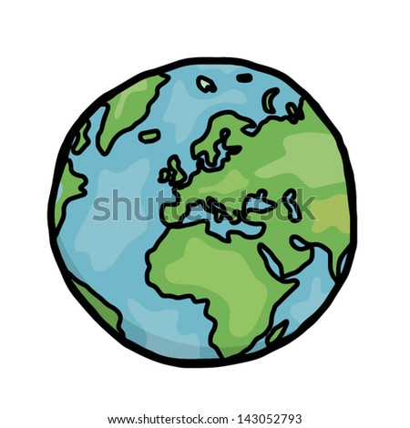 earth / cartoon vector and illustration, hand drawn, sketch style, isolated on white background.