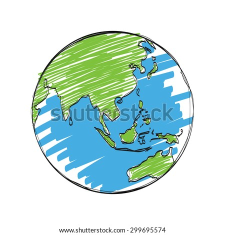 earth cartoon vector , hand drawn,isolated on white background.
