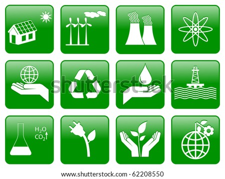 Earth conservation and ecology icon set - stock vector