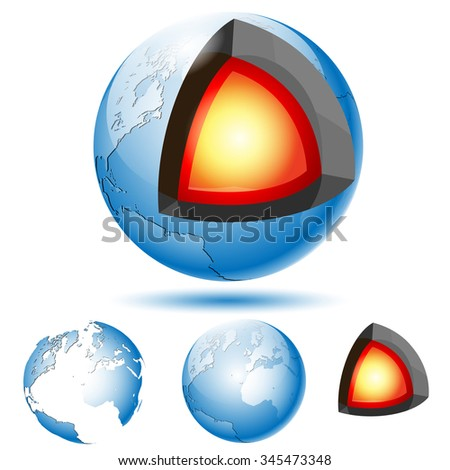 Earth Core Structure with Geological layers. Set icons. Illustration Vector eps10