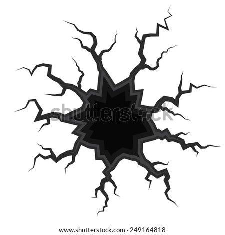 Earth Crack vector, rip through white background