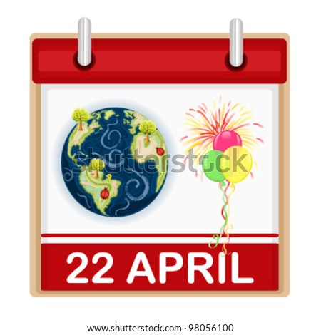 Earth Day - 22 April - celebration with balloons and fireworks. Vector illustration saved as EPS AI8, no effects, all elements layered, easy print and edit. - stock vector