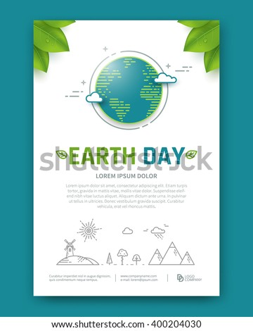 Earth day brochure or poster vector template. Planet in linear style. - stock vector