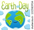 Earth day card template. Vector postcard layout. - stock