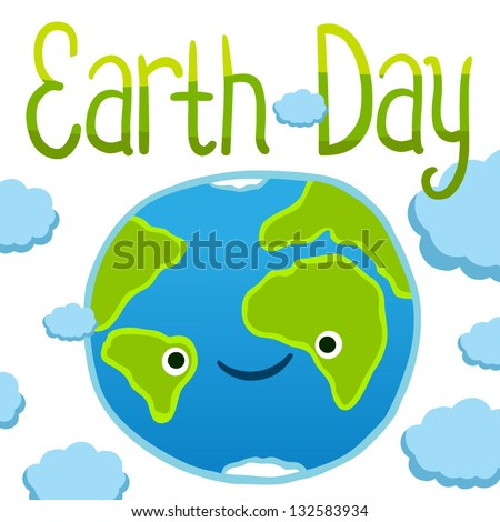 Earth day card template. Vector postcard layout. - stock vector