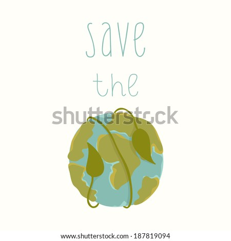 Earth day card template. Vector postcard layout. Save the Earth - stock vector