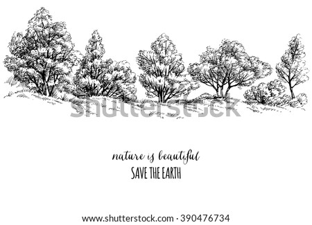 Earth day card, trees sketch - stock vector