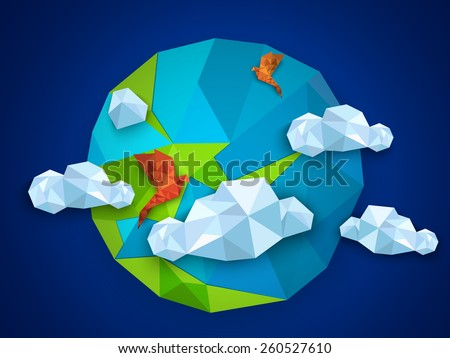Earth day concept with origami globe, flying birds and clouds on blue background.  - stock vector