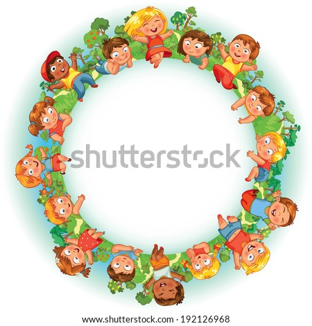 Earth Day. Cute little kids show a blank poster for your text entry. Vector illustration - stock vector
