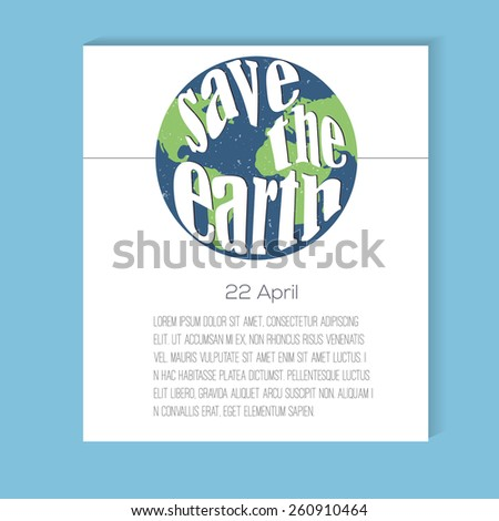Earth Day design layout - stock vector