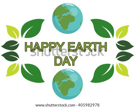 Earth day design with the words planets and green leaves - stock vector