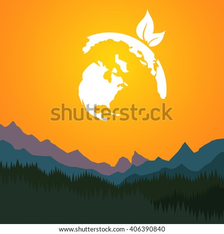 Earth day. Earth globe on mountain background. Vector illustration. - stock vector