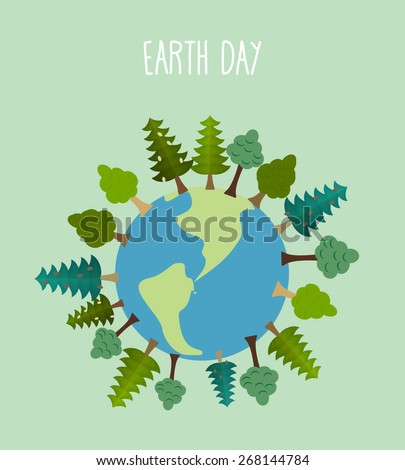 earth day. Earth with trees.   Vector geometric trees and grass silhouettes - stock vector