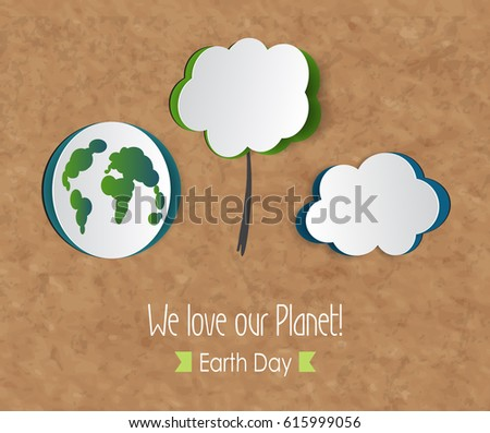Earth day eco friendly ecology concept vector illustration world environment day background