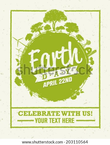 Earth Day Eco Green Vector Poster Design. Organic Circle Concept on Paper Background - stock vector