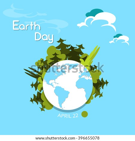 Earth Day Green Trees Grow from Globe World Vector Illustration