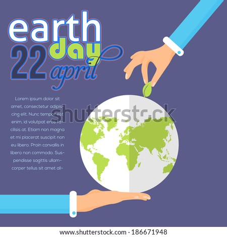 Earth Day Green World Flat Design - stock vector