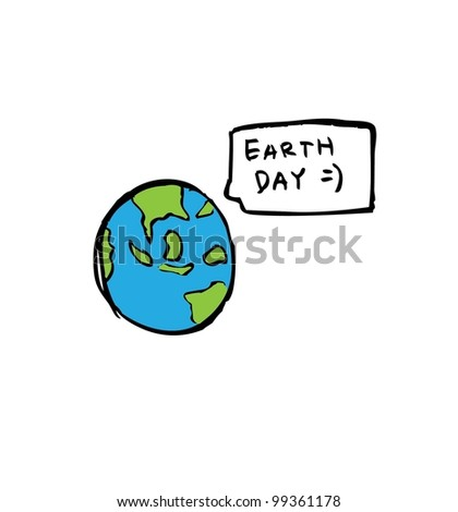 earth day hand drawn - vector illustration - stock vector