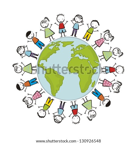 earth day illustration with children over white background. vector - stock vector
