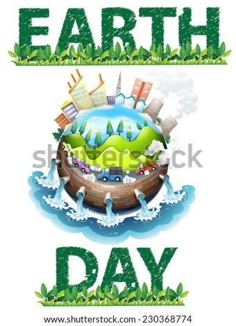 Earth day poster theme on white - stock vector