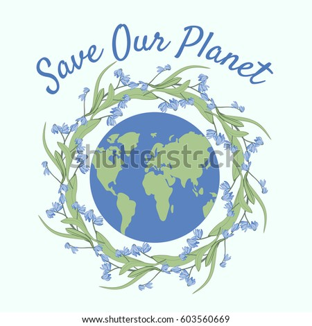 Earth Day Poster Vector Illustration Words Stock Vector 603560669 ...