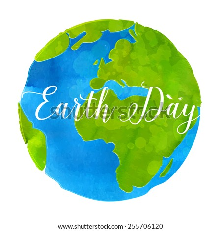 Earth day poster with watercolor paint texture hand drawn globe vector  illustration - stock vector