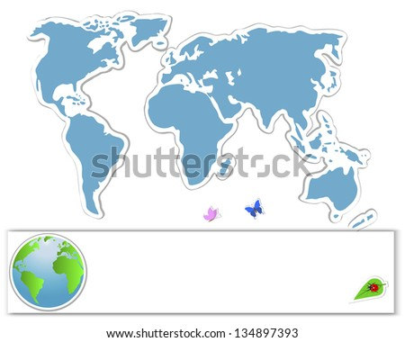 Earth Day. Sticker map with banners, globe and insects. 10 eps. Vector illustration.