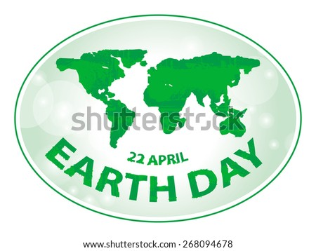 earth day symbol green map grunge style vector illustration 1