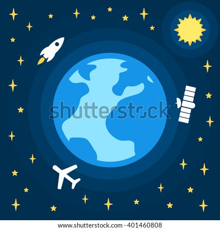 Earth day vector cartoon card, holiday poster in flat design on space background with stars Vector illustration of earth globe and flat signs rocket, plane and satellite in-orbit - stock vector