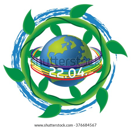 Earth Day vector illustration - 22nd of April, with ocean wave and plant (vegetation) swirls, and peace rainbow.