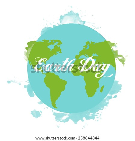 Earth Day watercolor design - stock vector