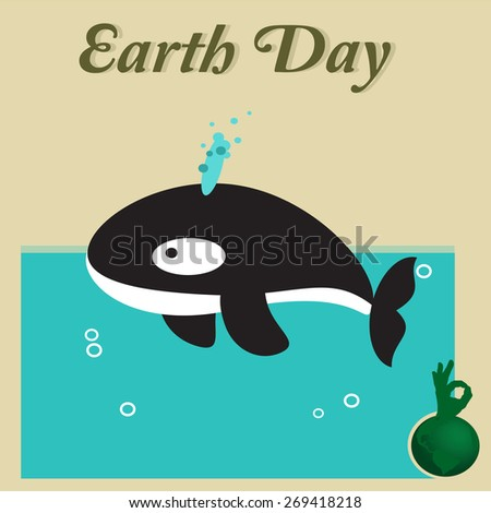 Earth Day, whale at sea - stock vector