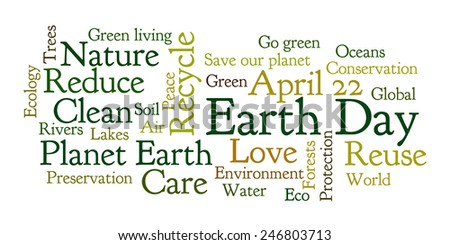 Earth Day word cloud. Frequent words related to Earth Day. Vector illustration.