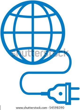 Earth + electric plug - Vector illustration - stock vector