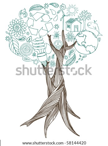 Earth friendly doodles make up the leaves of hand drawn tree. - stock vector