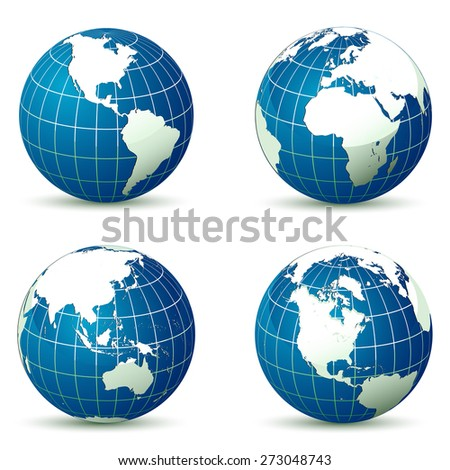 Earth from different angles vector illustration