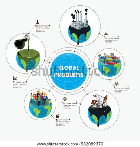 Earth global problems infographic illustration. Earth pollution by oil, chemicals, and industry waste. Overpopulation and global heating.
