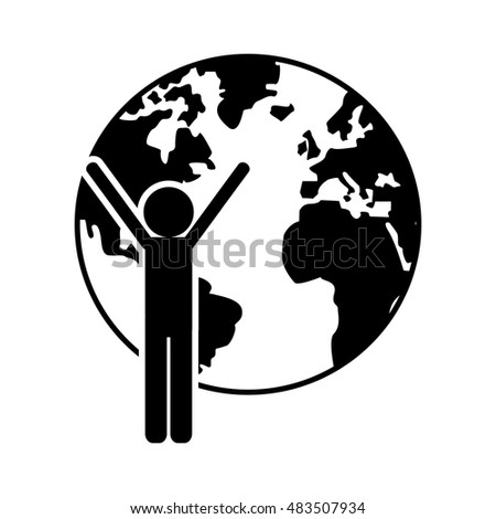 earth globe and person pictogram  icon