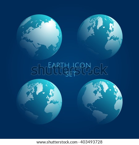 Earth Globe cyan Icon Set. Blue globe kit .Vector illustration. EPS 10
