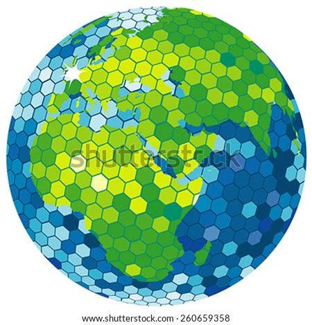 Earth globe disco ball - stock vector