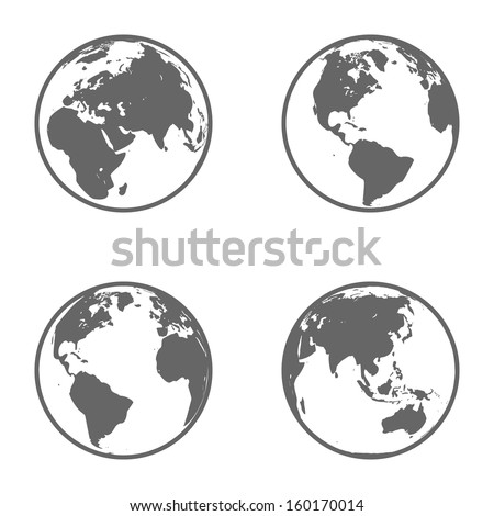 Earth Globe Emblem. Icon Set. Vector - stock vector