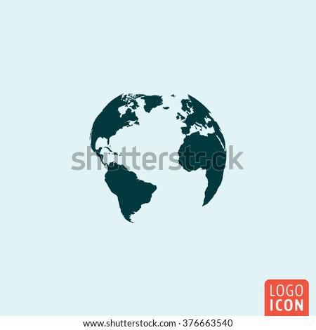 Earth globe icon. Earth globe icon. Earth globe logo. Earth globe symbol. Earth globe image. Minimal icon design. Vector illustration. - stock vector