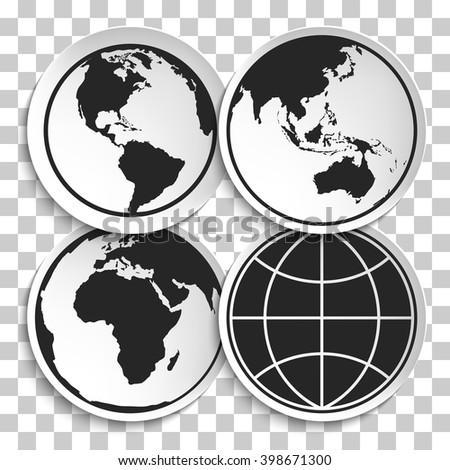 Earth Globe Icon on White Plate. Earth on Plate Vector Illustration. Black Earth icon, Travel and Transportation Concept on transparency background. - stock vector